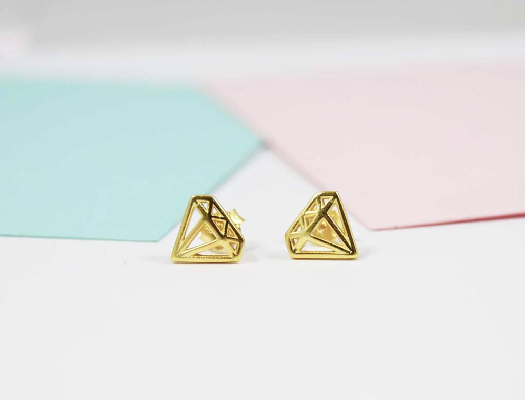 Diamond Shape Geometric Stud Earrings By Dainty Edge