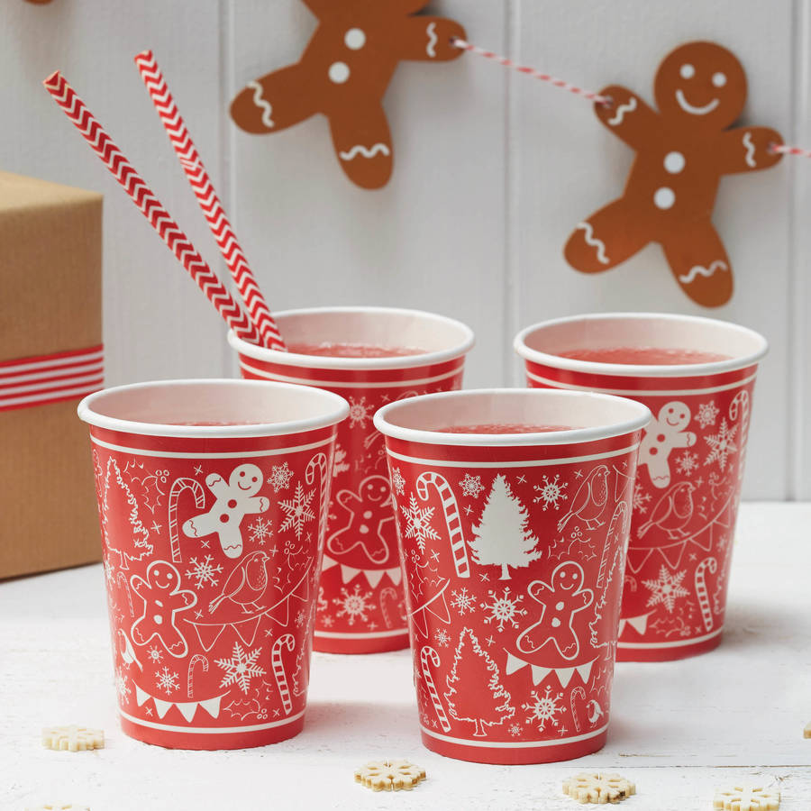Red And White Festive Christmas Party Paper Cups By Ginger