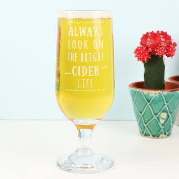 Engraved 'Bright Cider Life' Cider Glass
