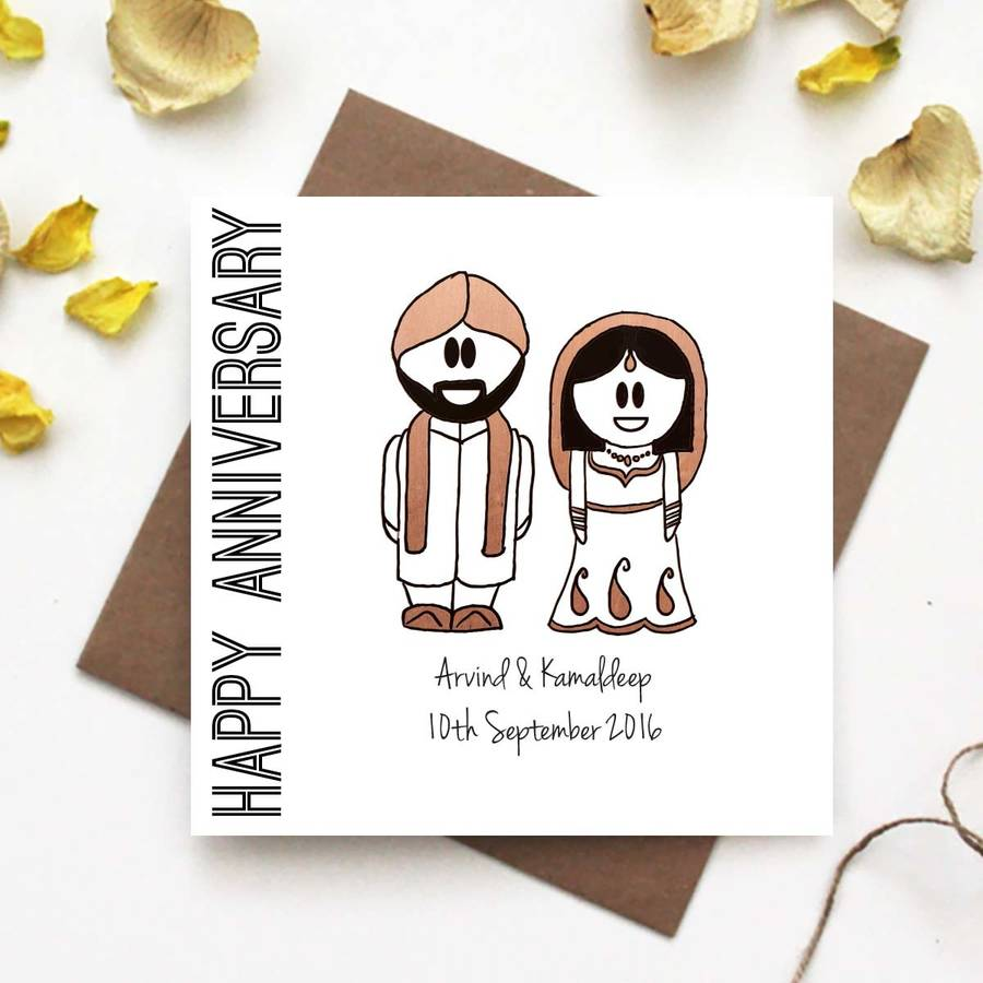 Happy Anniversary Card Traditional Indian Dress By The