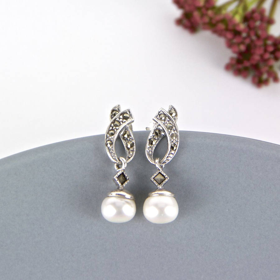 Freshwater Pearl Marcasite Drop Earrings By Gama Weddings
