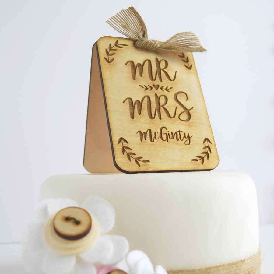 wedding cake toppers  raquo  personalised wooden wedding cake topper by just toppers     Personalised Wooden Wedding Cake Topper