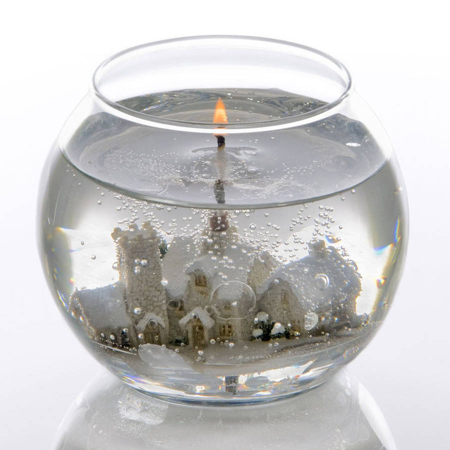 Christmas Village Snow Scene Gel Candle Bowl By Red Berry