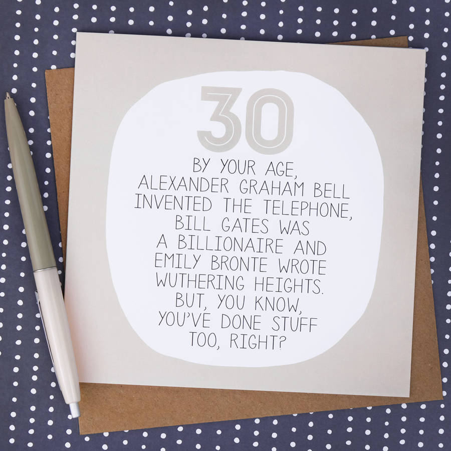 By Your Age Funny 30th Birthday Card By Paper Plane Notonthehighstreet Com