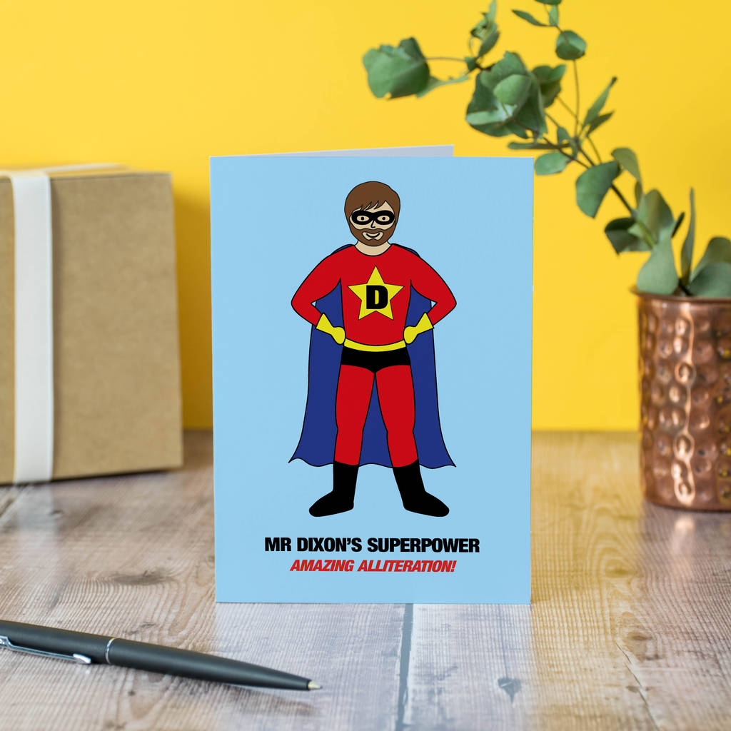 Design Your Own Superman Teacher Personalised Card By
