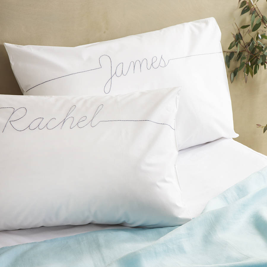 embroidered personalised pillow cases