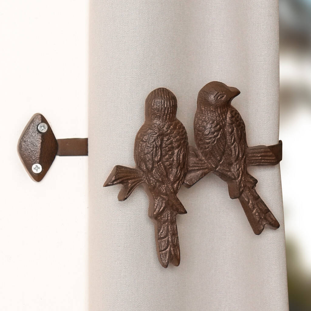 set of two country birds curtain tie backs