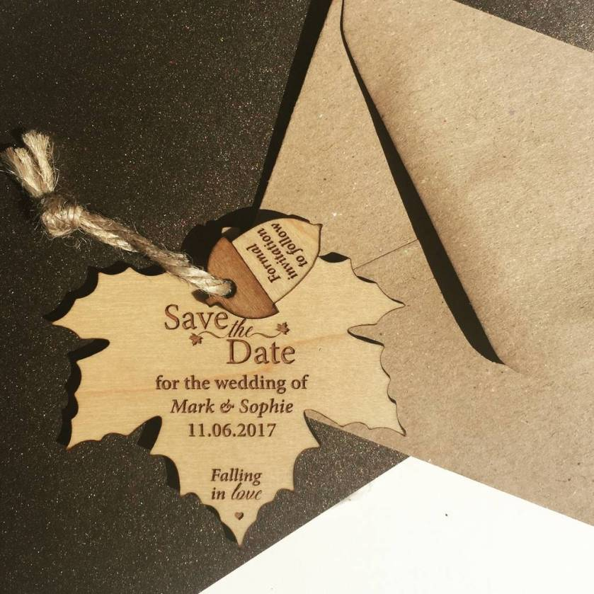 Autumn Leaf Hanging Wood Save The Date Enement Wedding Invitations