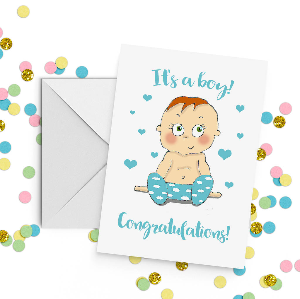 Baby Boy Congratulations Card A5 By Giddy Kipper Notonthehighstreet Com