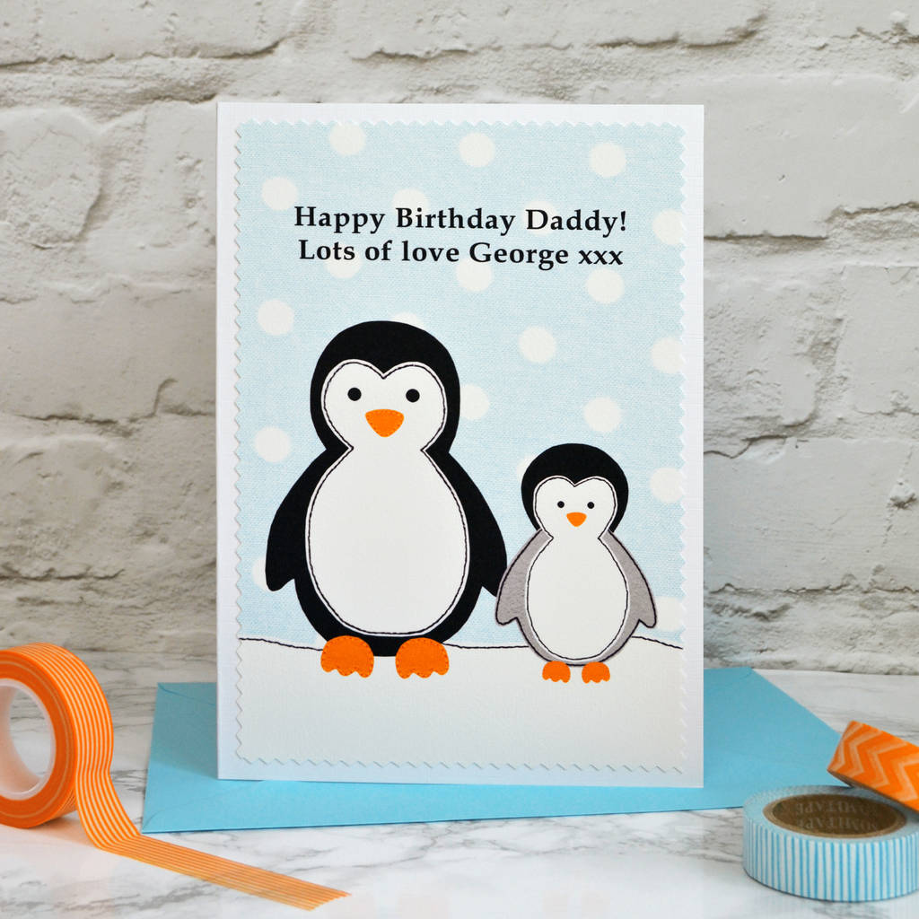 Penguin Personalised Birthday Card From Children By