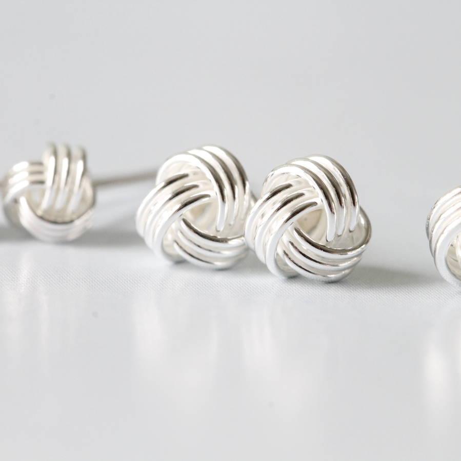 Silver Friendship Knot Ear Studs Earrings By Attic