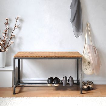 Reclaimed Wood And Steel Shoe Rack Bench By M 246 A Design