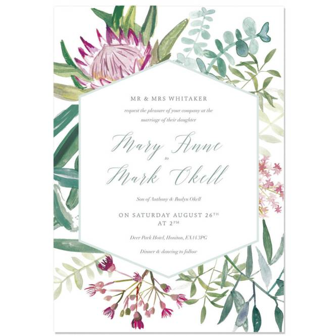 Protea Botanical Wedding Invite Sample