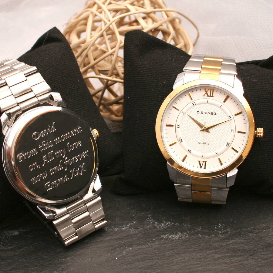 Gents Engraved Wrist Watch Silver And Gold By