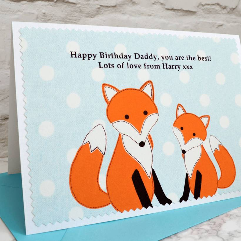 Fox And Baby Personalised Birthday Card By Jenny Arnott Cards
