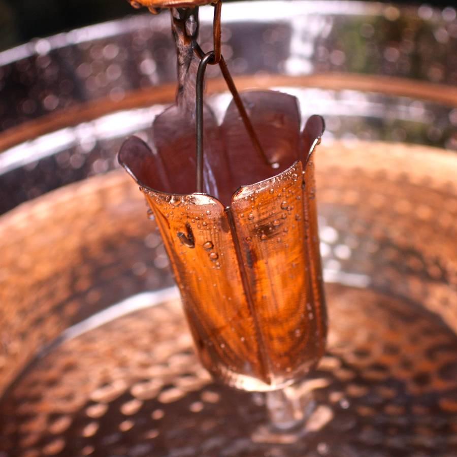 Copper Rain Chain And Splash Basin By London Garden