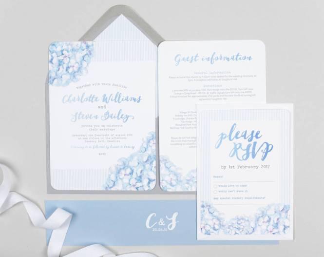 Hydrangea Blue Wedding Invitation