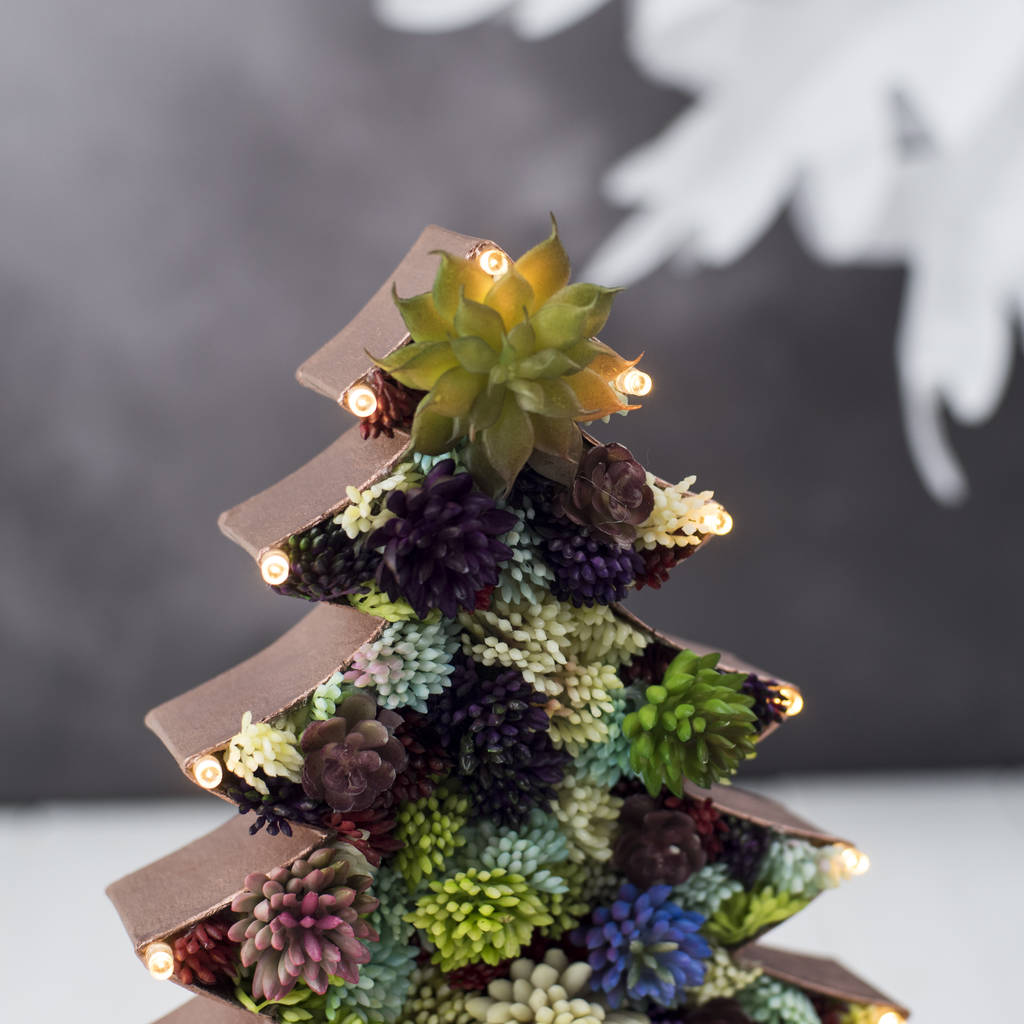 Handmade Succulent Christmas Tree Marquee Light By The
