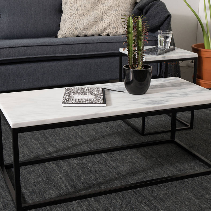 marble top coffee table with black steel frame