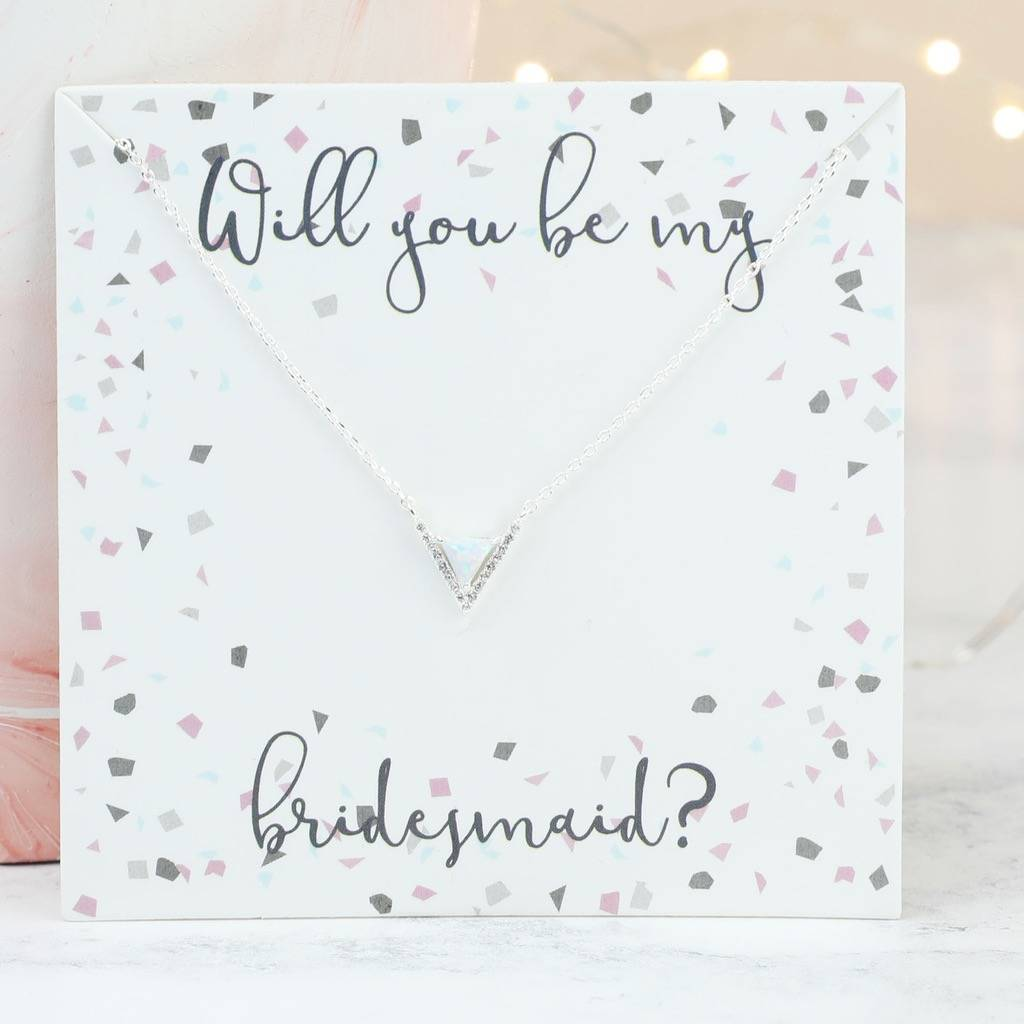 Stone And Diamante Chevron Bridesmaid Necklace By Lisa
