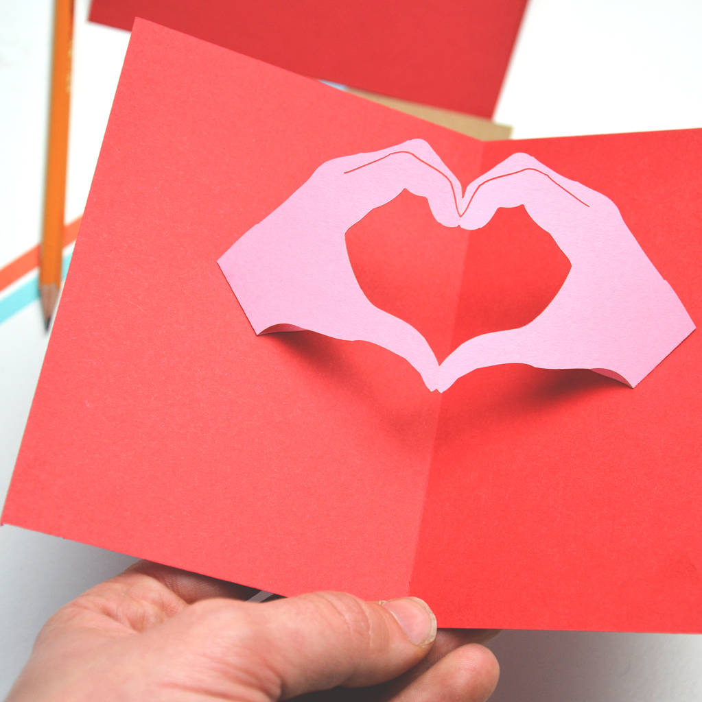 Personalised Pop Up Hand Heart Gesture Valentines Card By