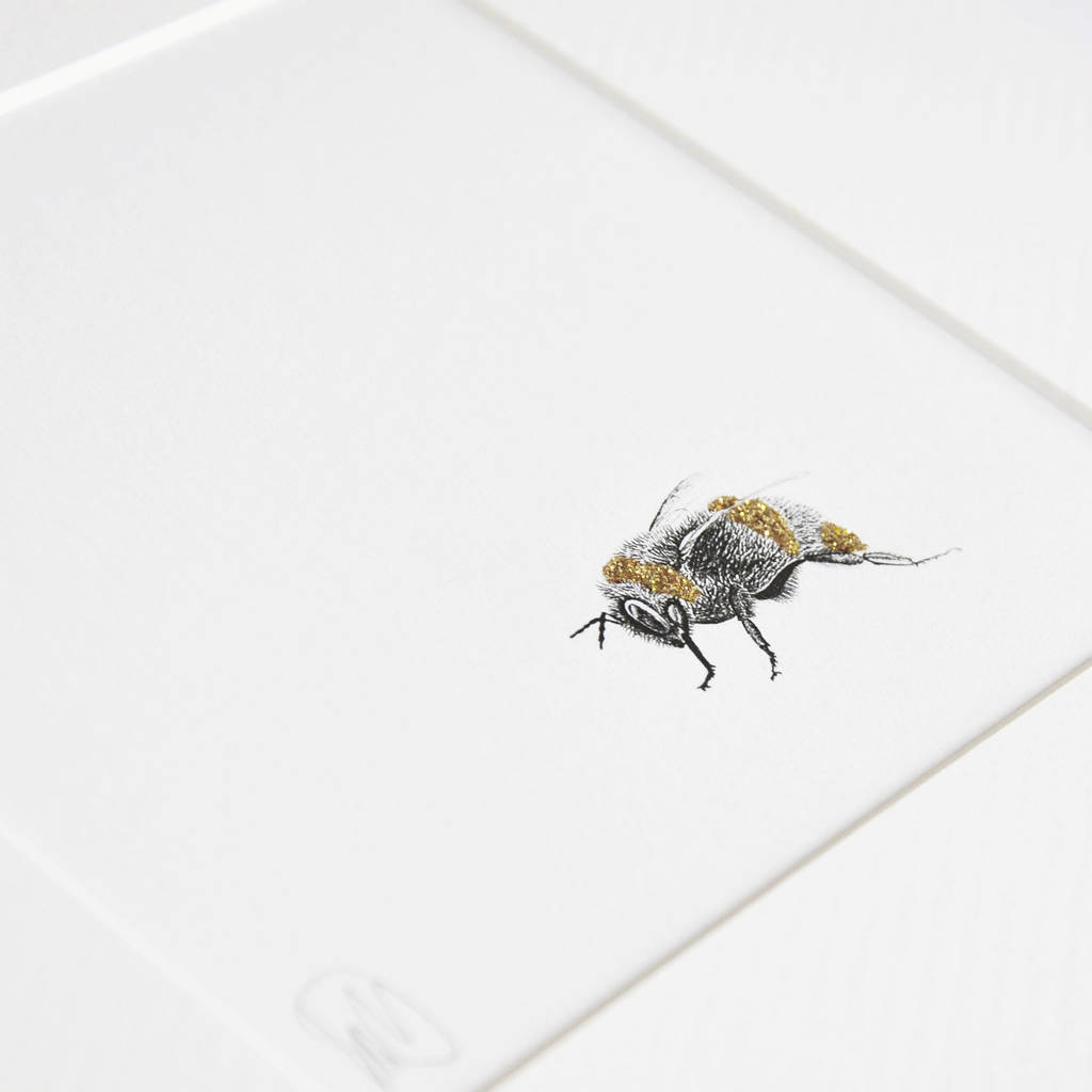 Framed Bee Print With Glitter By Lale Guralp
