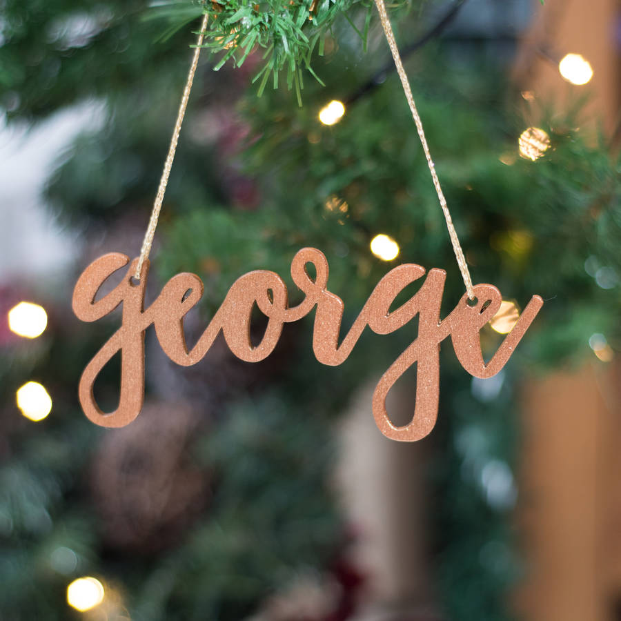 Personalised Glitter Copper Christmas Tree Decorations