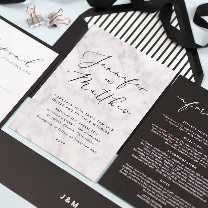 Monochrome Marble Wedding Invitations