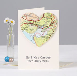 Personalised Map Wedding And Anniversary Heart Card Original Valentine S Cards