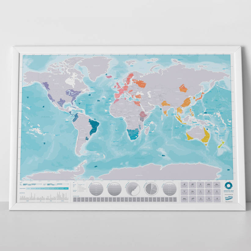 scratch map      oceans world map poster by luckies     Scratch Map      Oceans World Map Poster