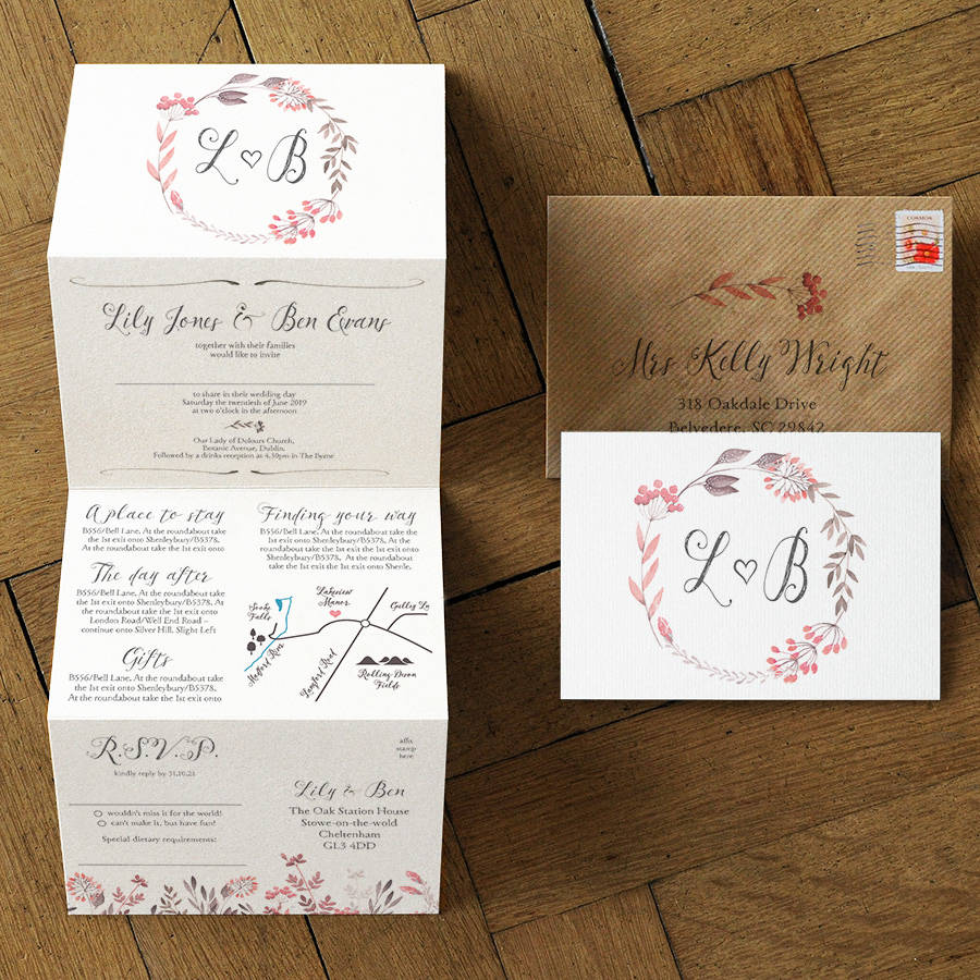 Handmade Rustic Wedding Invitations Uk