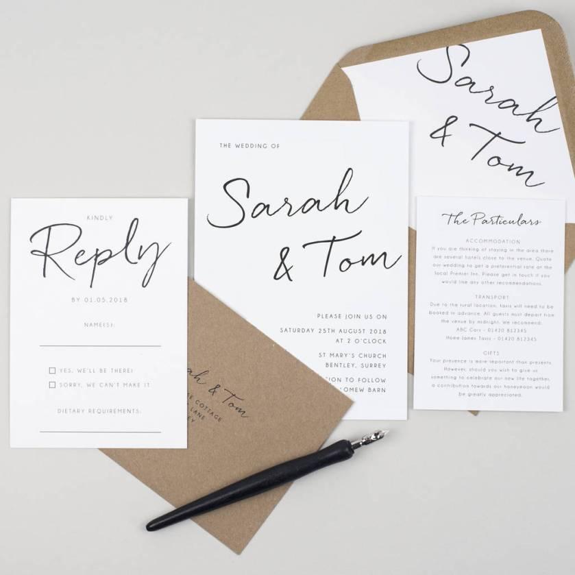 Minimalist Wedding Invitation Save The Date Cards