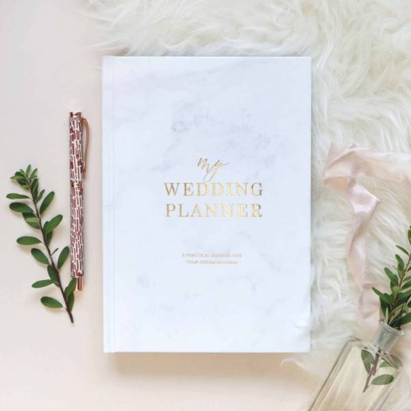 marble and gold foil wedding planner by blush and gold     Marble And Gold Foil Wedding Planner