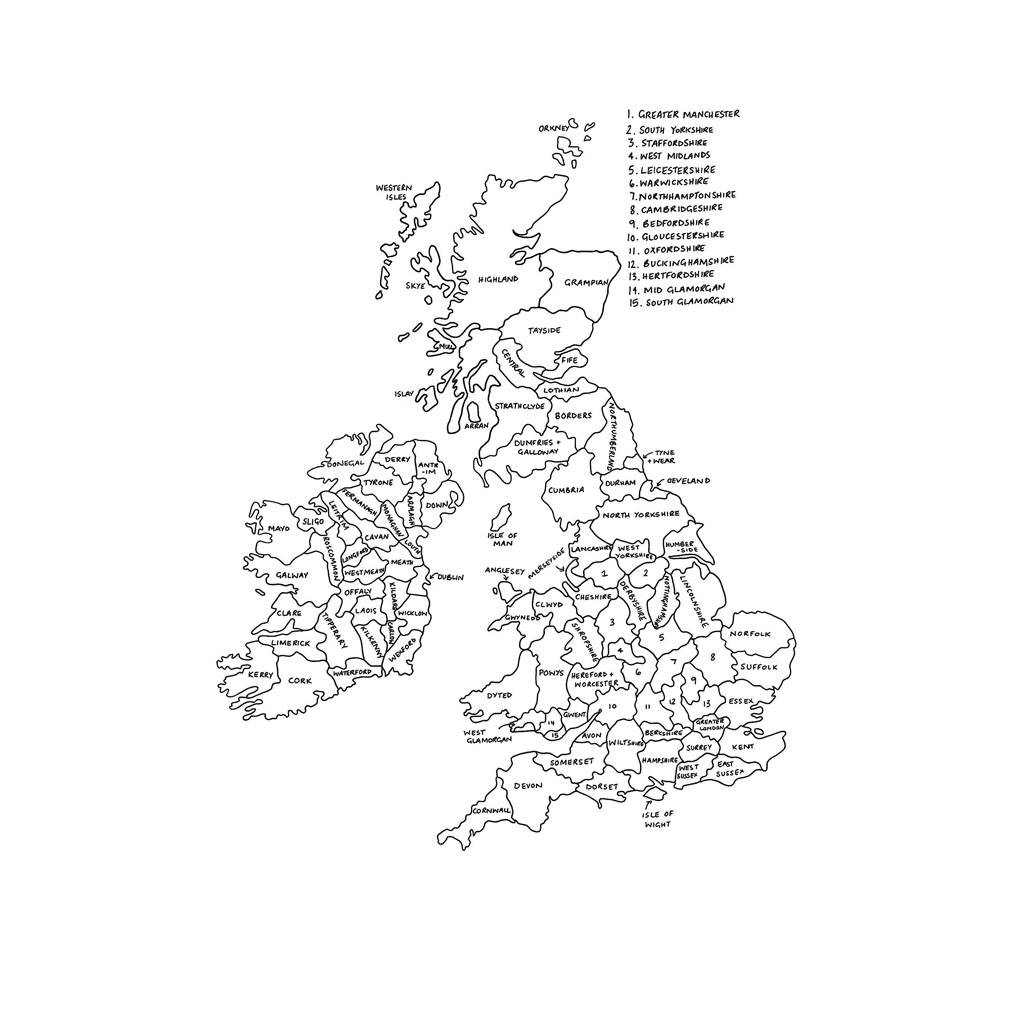 Personalised United Kingdom Map Print By Drawink Designs