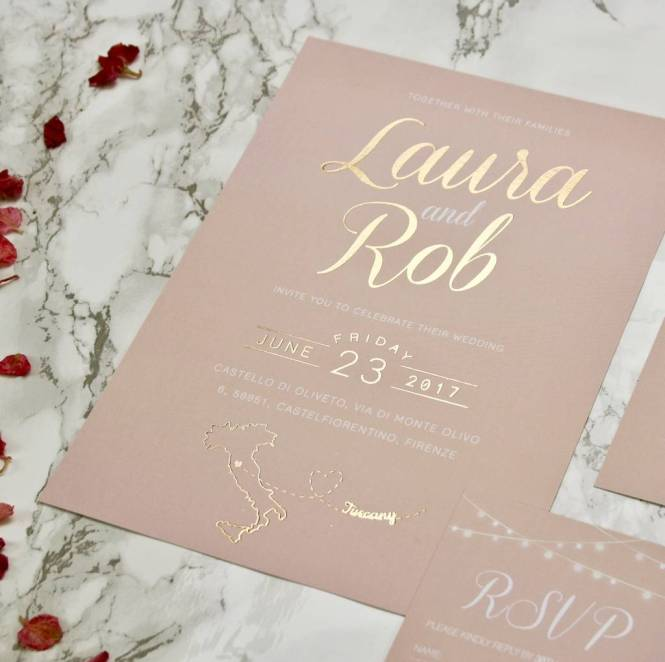 Luscious Type Blush And Gold Wedding Invites