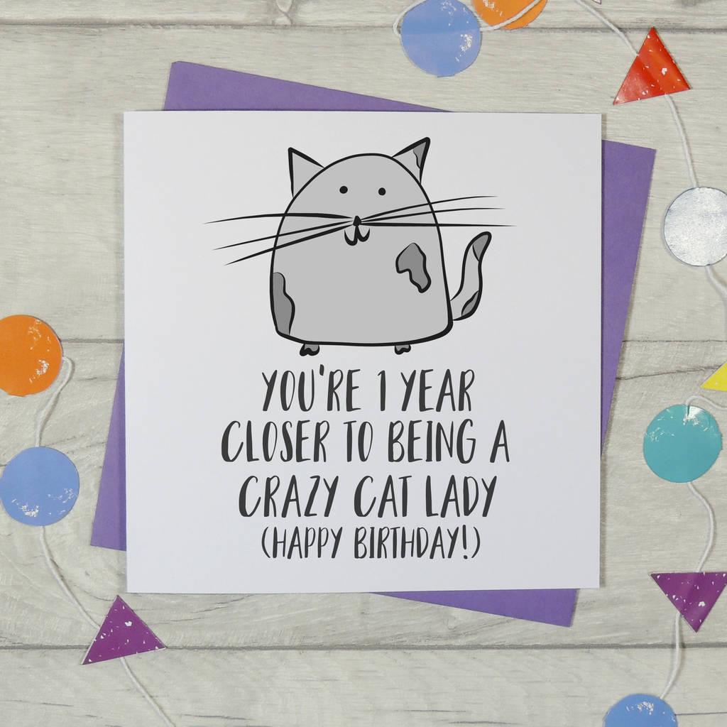 Crazy Cat Lady Birthday Card By Parsy Card Co Notonthehighstreet Com