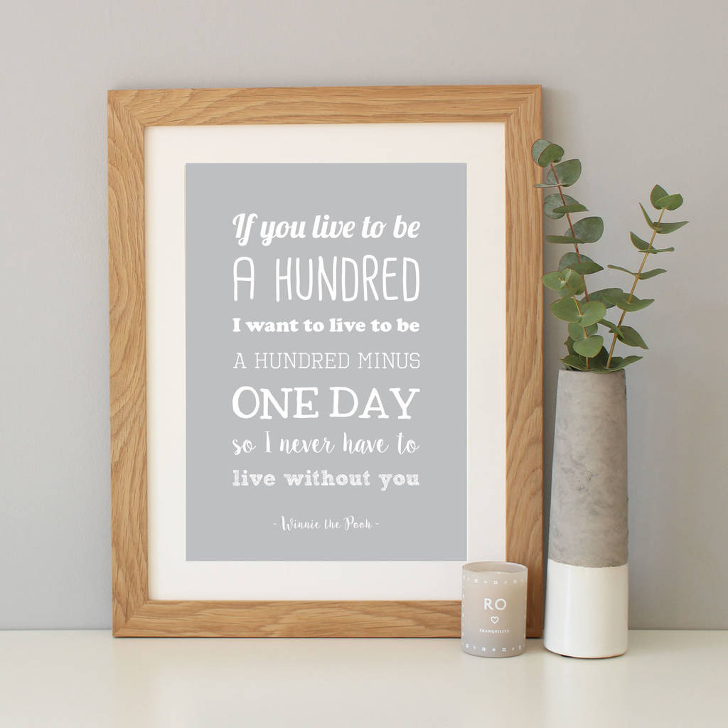 winnie the pooh anniversary gift quote print by hope and love     Light grey
