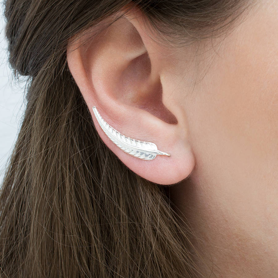 Sterling Silver Fern Leaf Ear Climbers By Martha Jackson