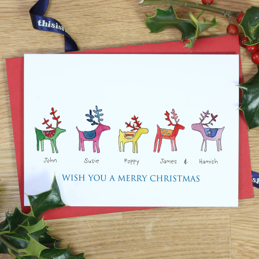 Personalised Rainbow Reindeer Family Christmas Cards By