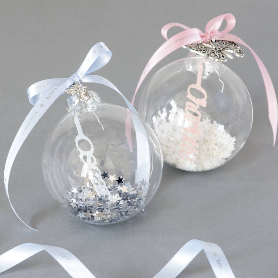 Personalised Papercut Babys First Christmas Bauble By