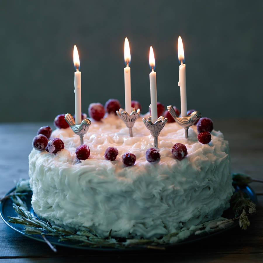 bird and bud cake candle holders, set of fourrowen & wren