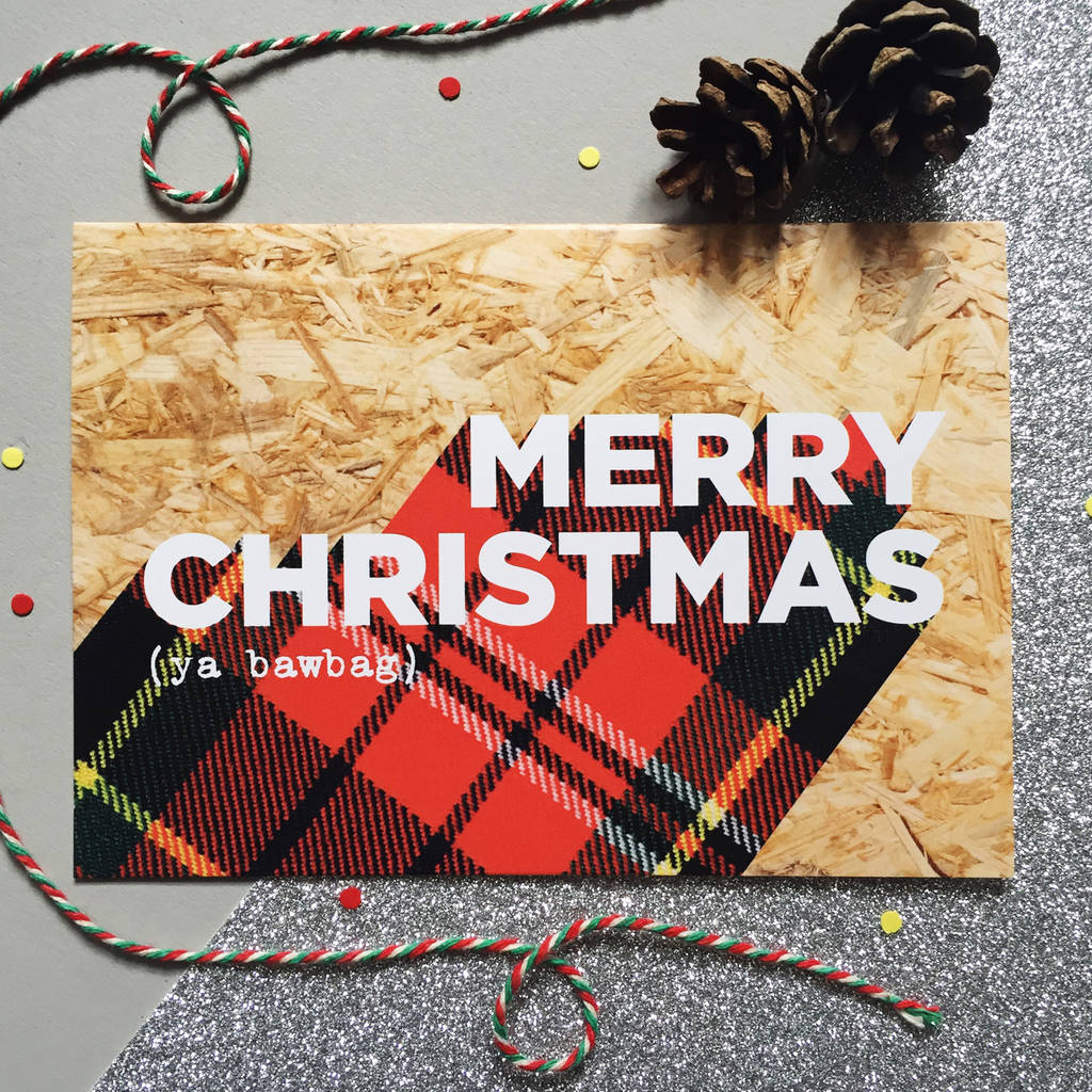 Packs Of Funny Tartan Scottish Christmas Cards By Hiya Pal