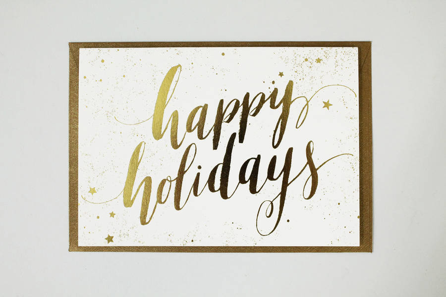 Happy Holidays Calligraphy Letterpress Christmas Card By