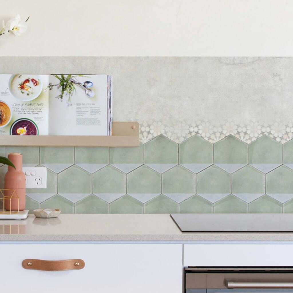 green hexagon kitchen backsplash designer wallpaper