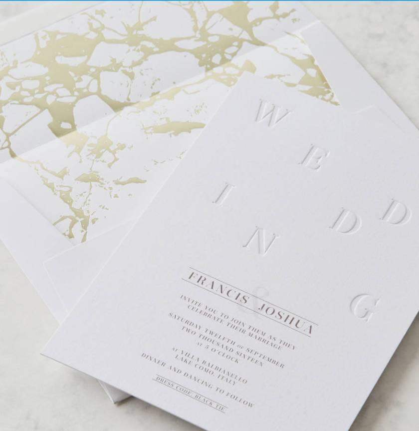 Letterpress Wedding Invitation With Marble Foil Envelope Liner