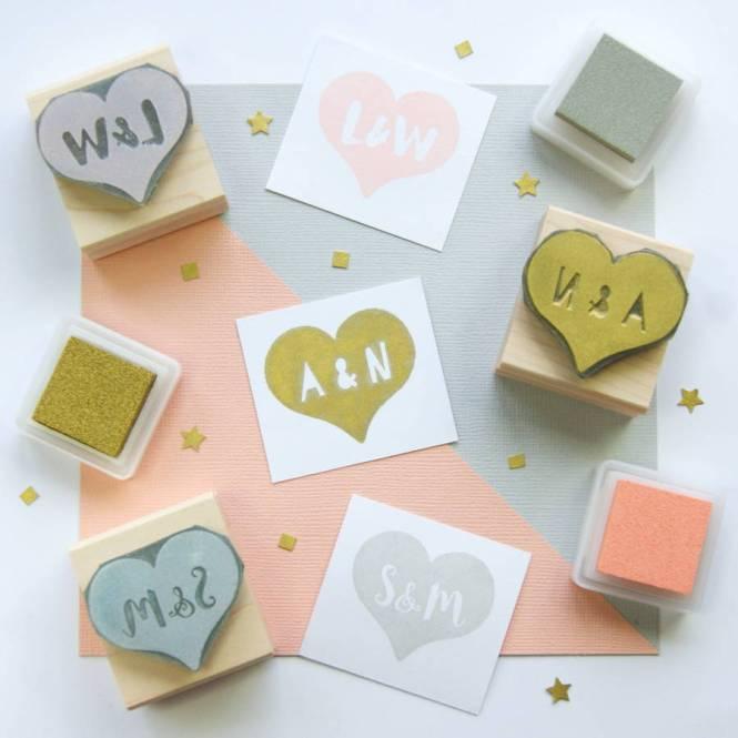 Custom Wedding Invitation Stamp Vintage Frame W9
