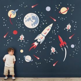 Space Rockets Fabric Wall Sticker