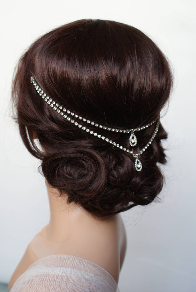 something blue wedding headpiece hair chain