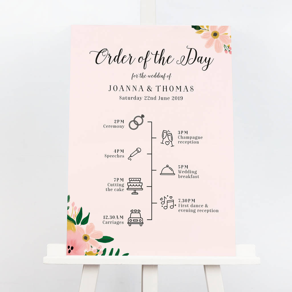 Jessica Wedding Order Of The Day Sign By Project Pretty Notonthehighstreet Com
