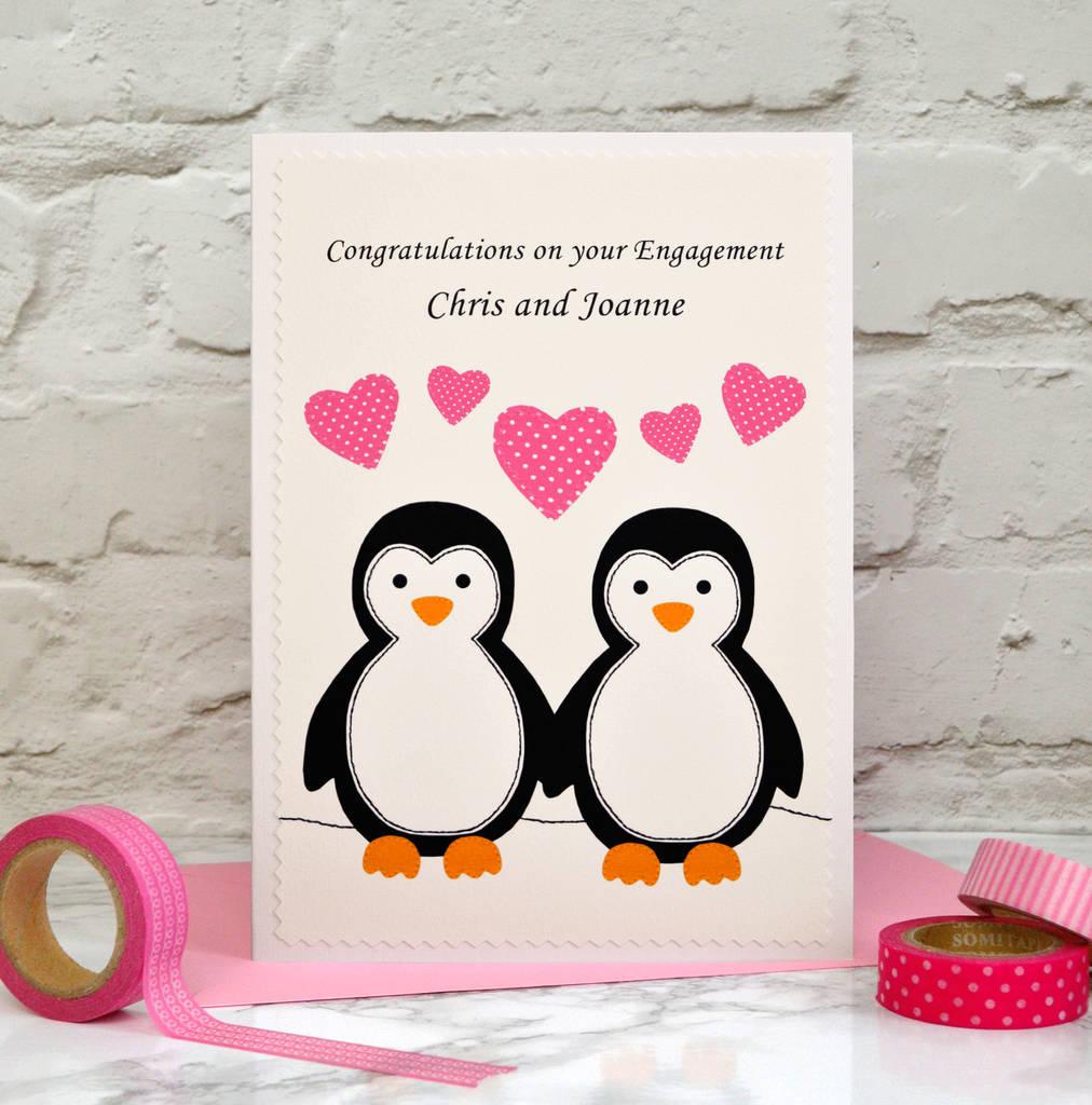 Penguins Personalised Engagement Card By Jenny Arnott
